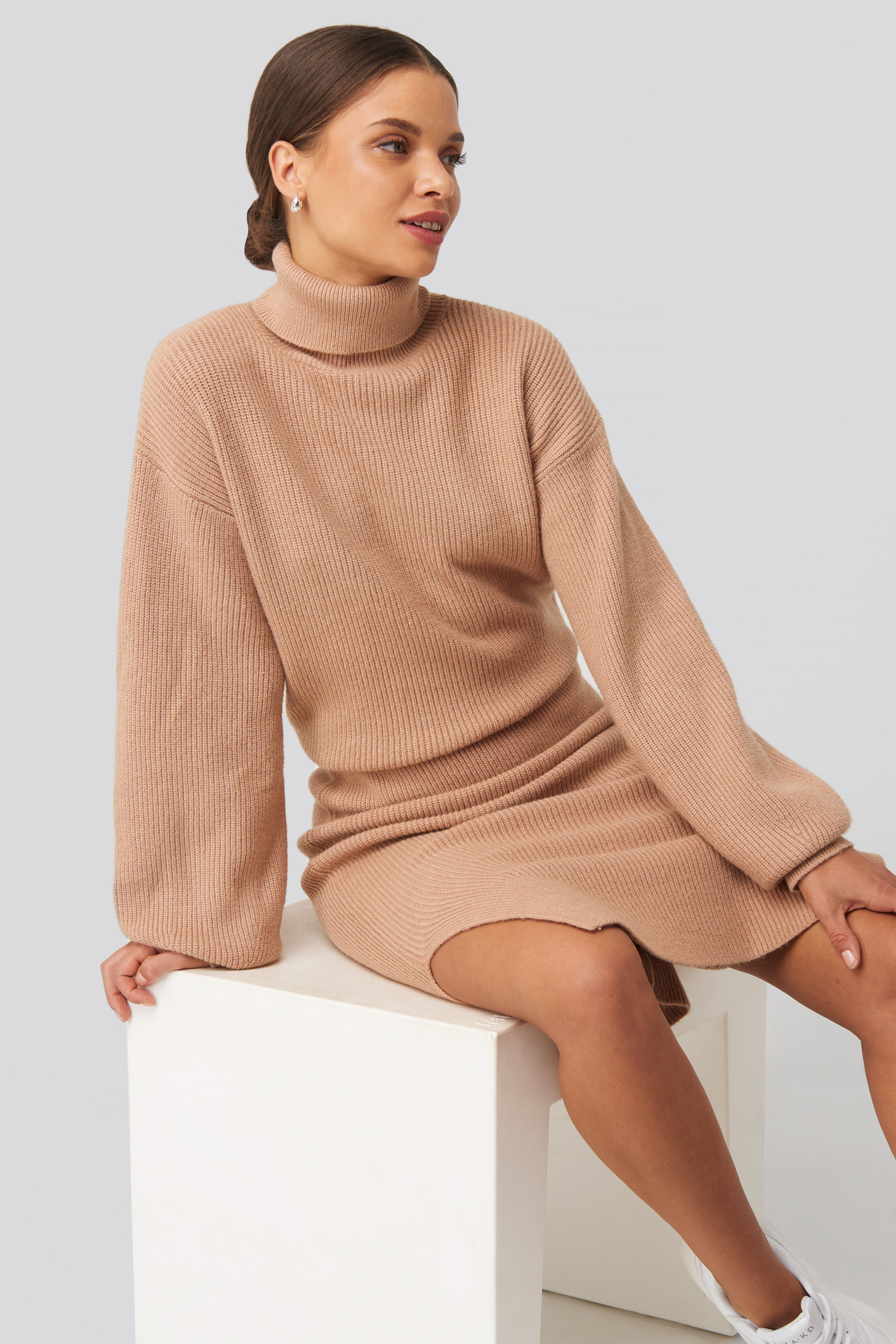donnaromina x na-kd -  Polo Neck Ribbed Knit Sweater - Beige