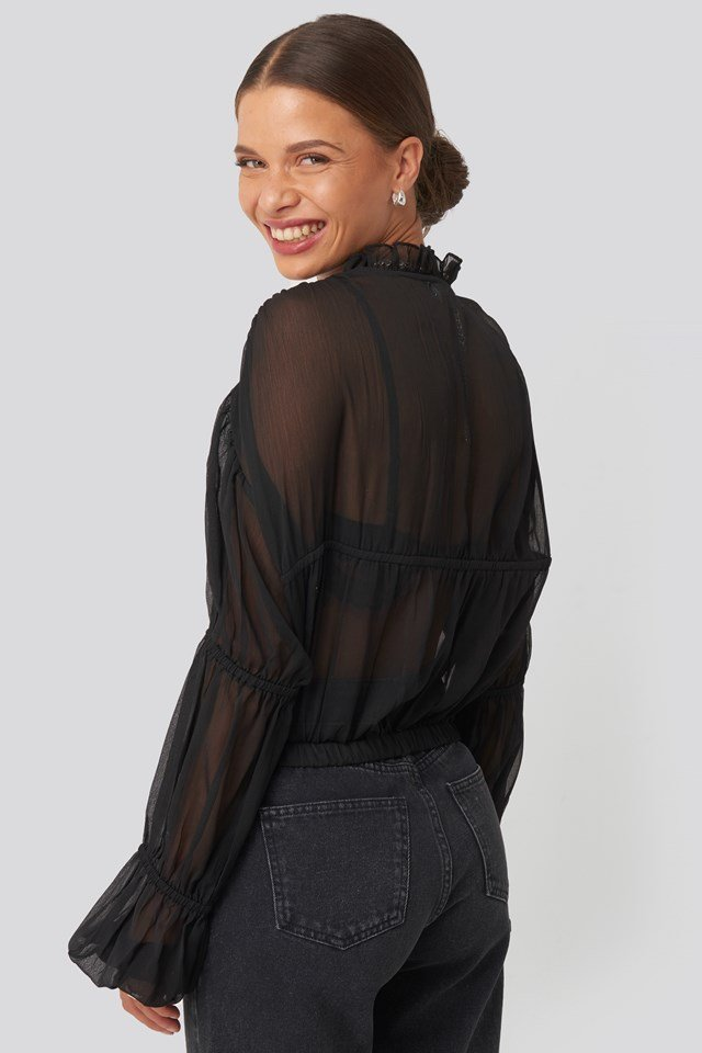 Puffy Sleeve Cropped Chiffon Blouse Black