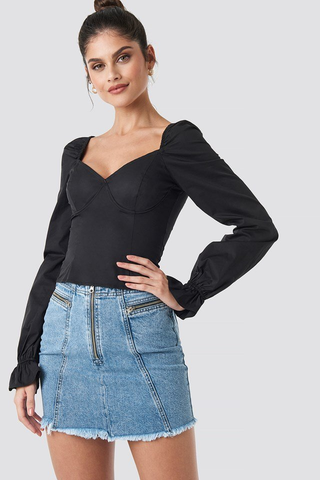 Puffy Sleeve Wire Blouse Black