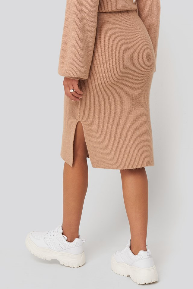 Ribbed Knit Midi Skirt Taupe Beige
