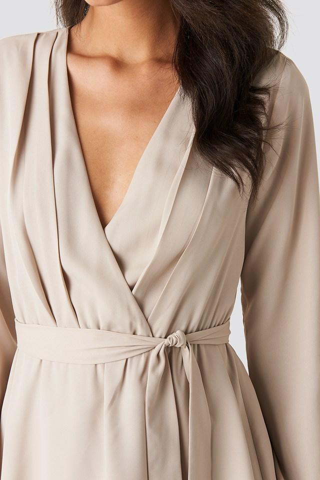 V-Neck Tied Front Flowy Dress Beige