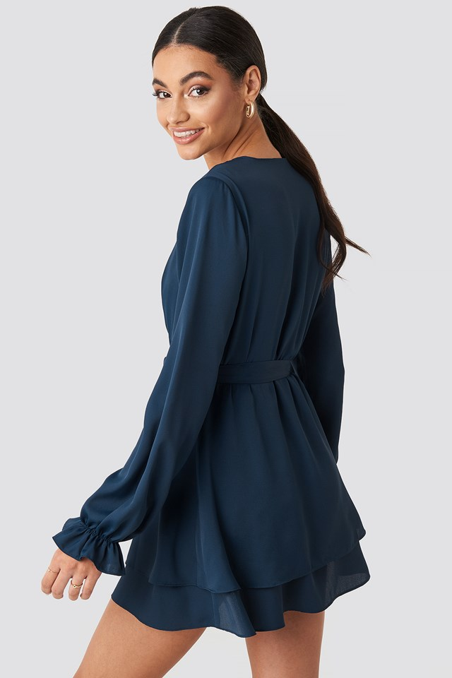 V-Neck Tied Front Flowy Dress Navy