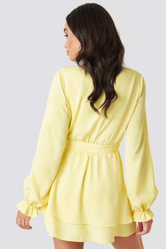 V-Neck Tied Front Flowy Dress Yellow