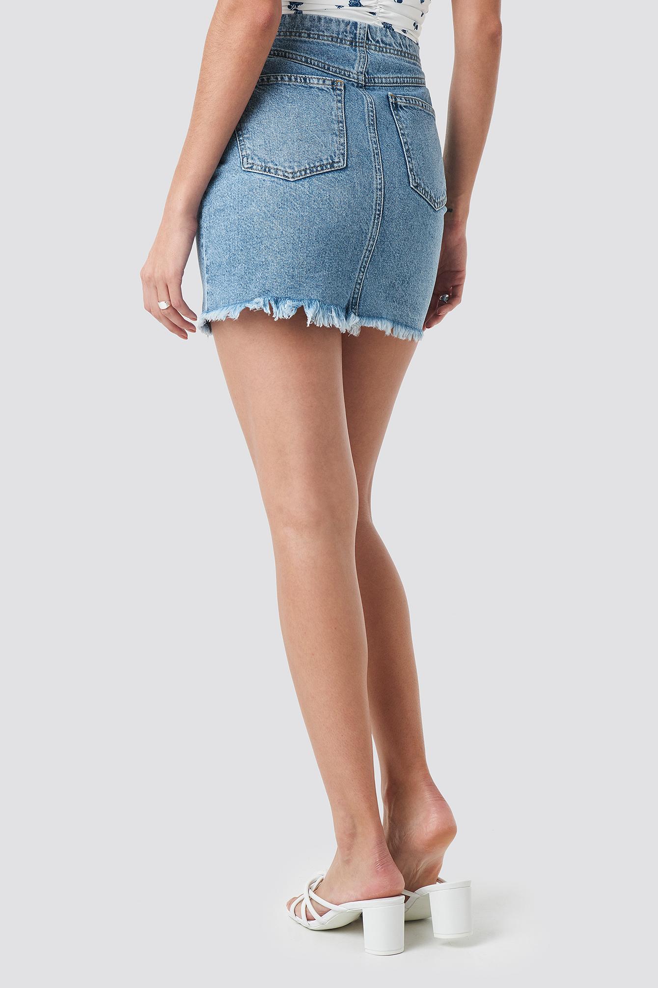 Zip Detailed Denim Skirt NA-KD.COM