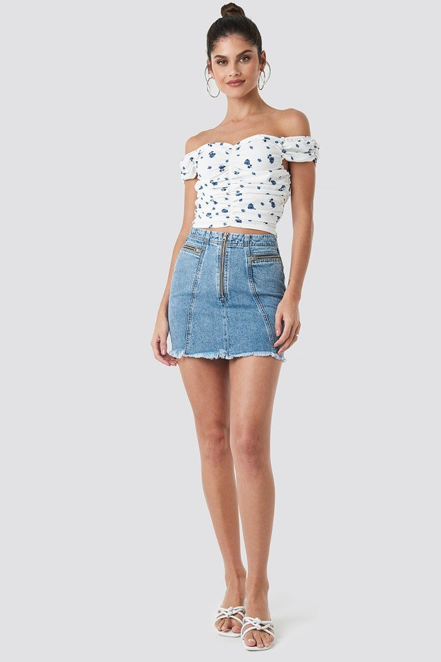 Zip Detailed Denim Skirt Light Blue