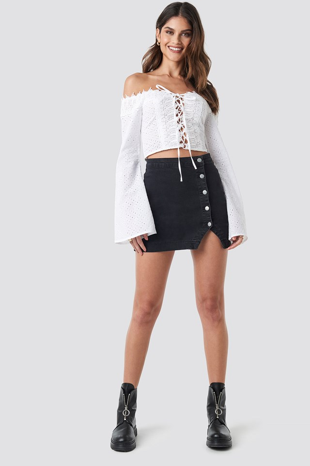 Side Button Denim Skirt Washed Black