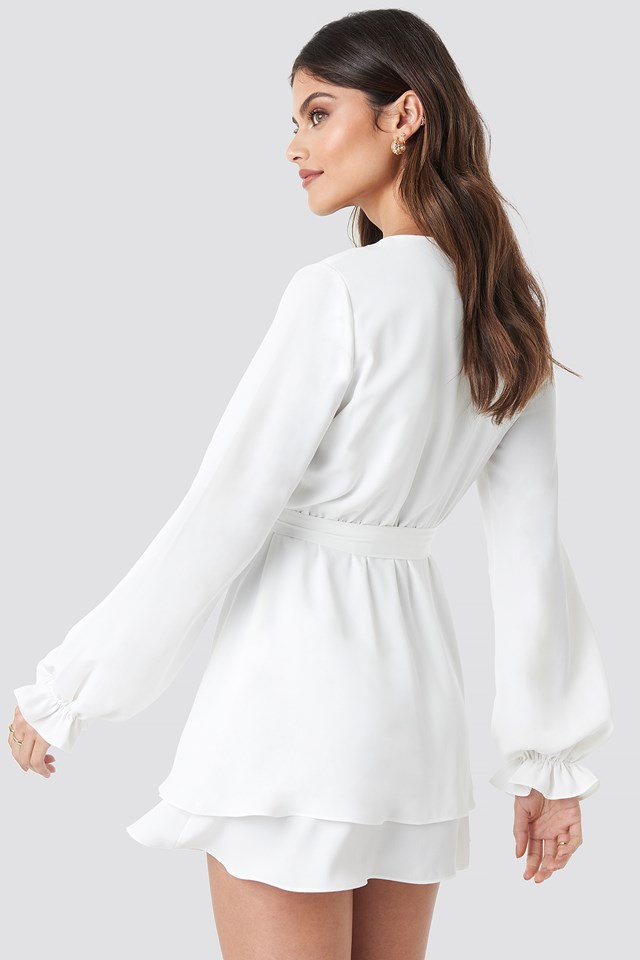 V-Neck Tied Front Flowy Dress White