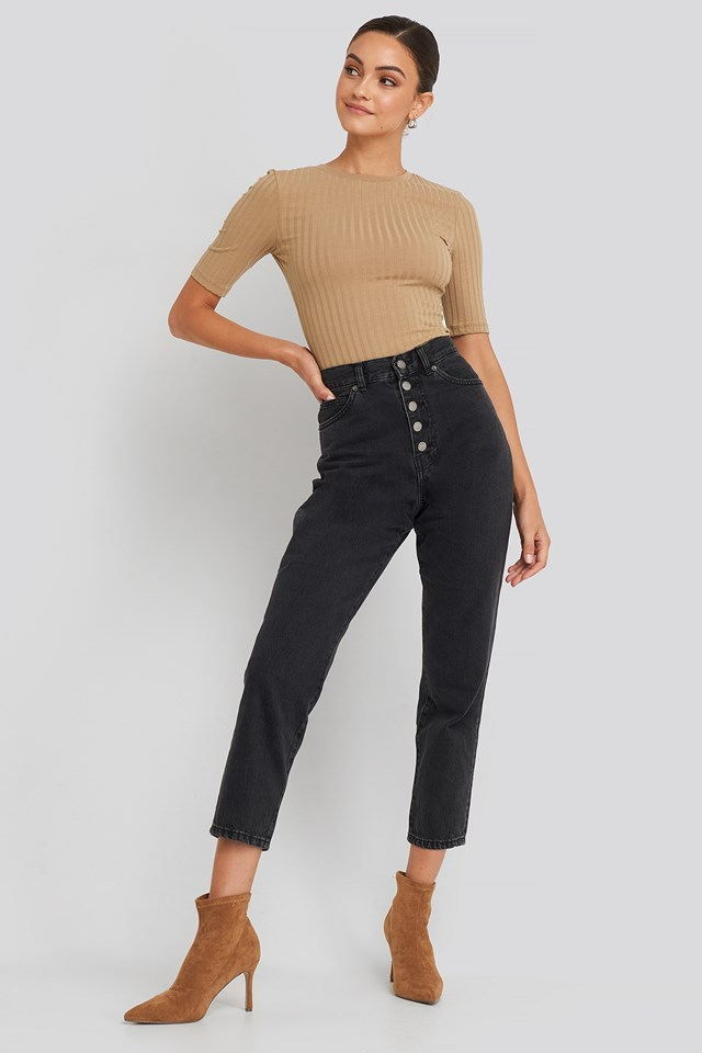 Nora Jeans Retro Black Button Fly
