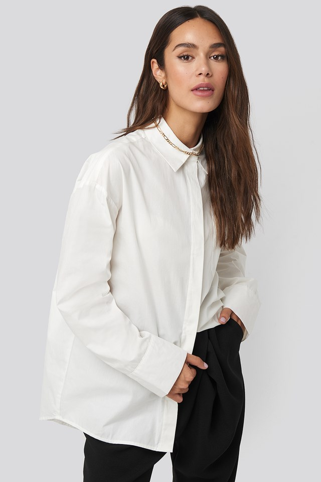 Dropped Shoulder Shirt White
