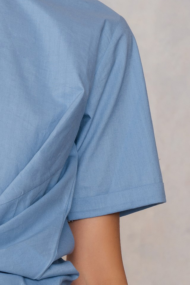 Ebba knot blouse Stone Blue