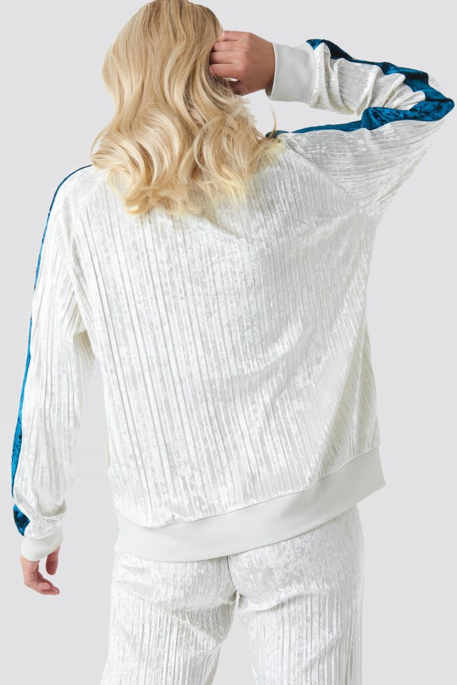 El Angelica Velvet Track Top Off White