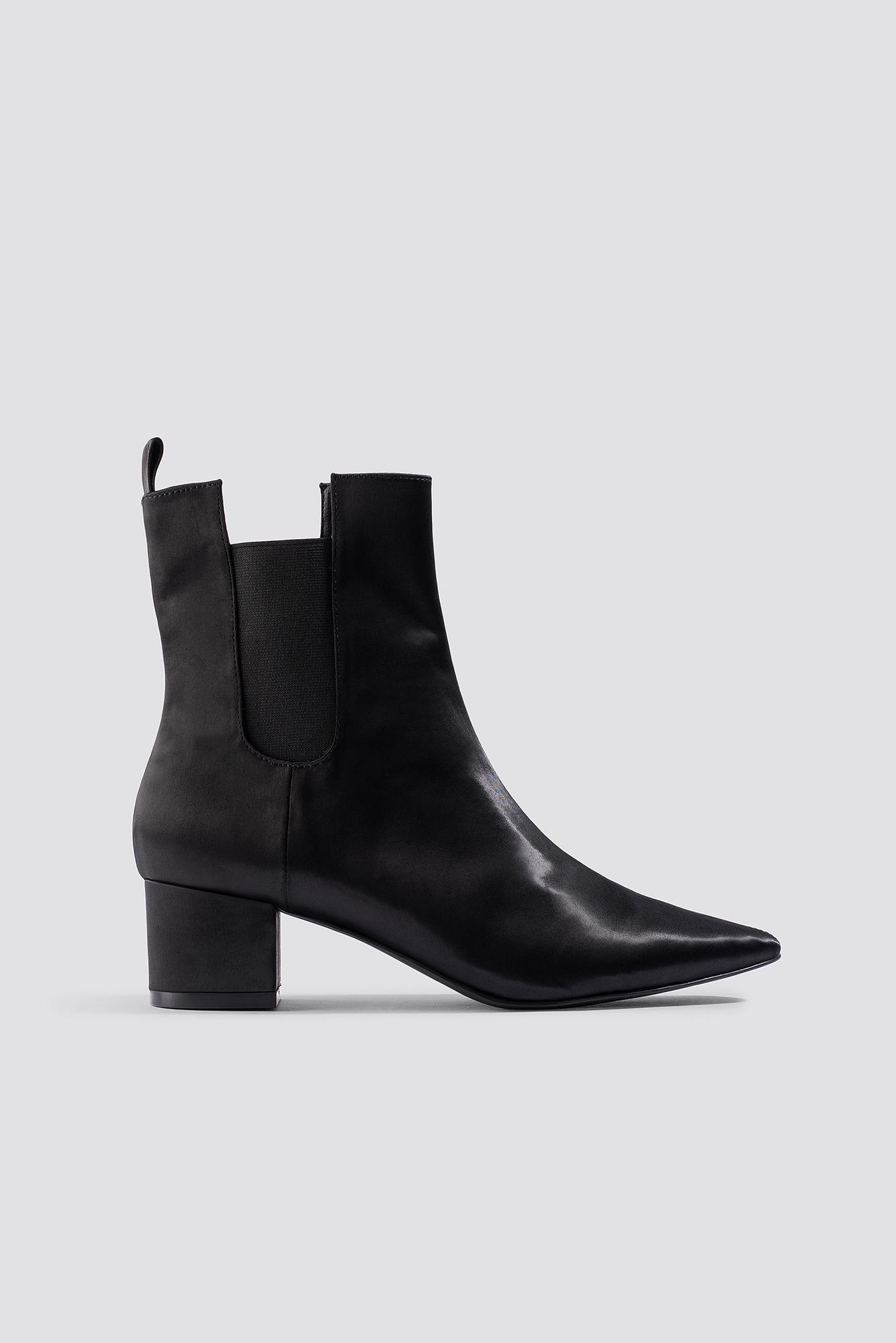 emilie briting x na-kd -  Satin Ankle Boots - Black