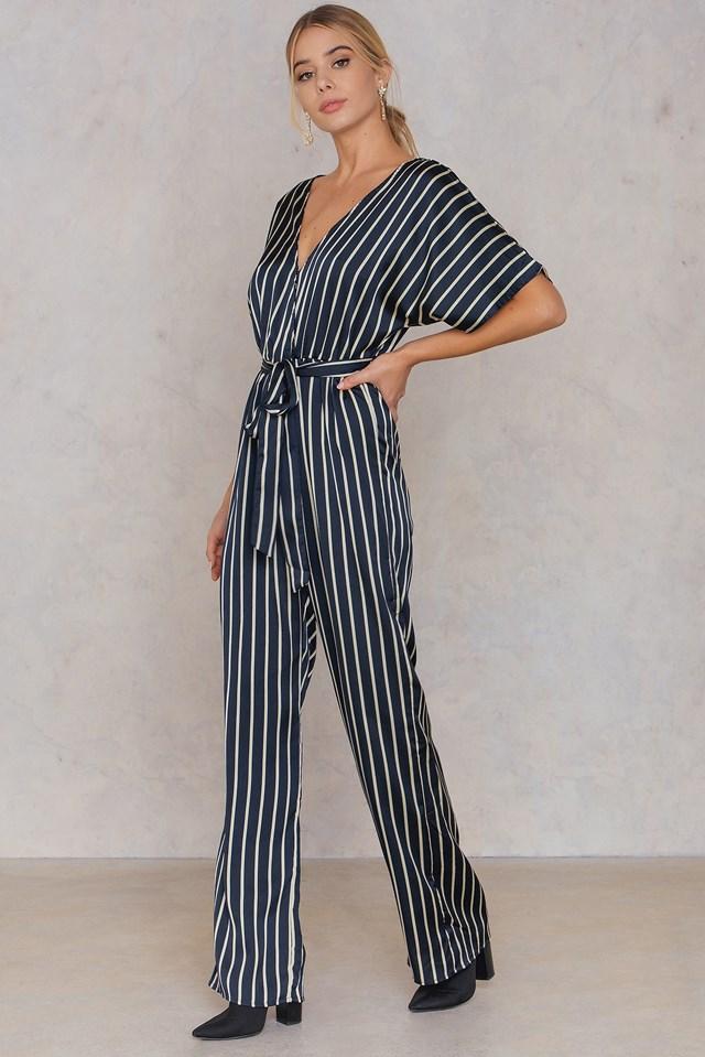 Stripe Wrap Jumpsuit Navy/Ivory