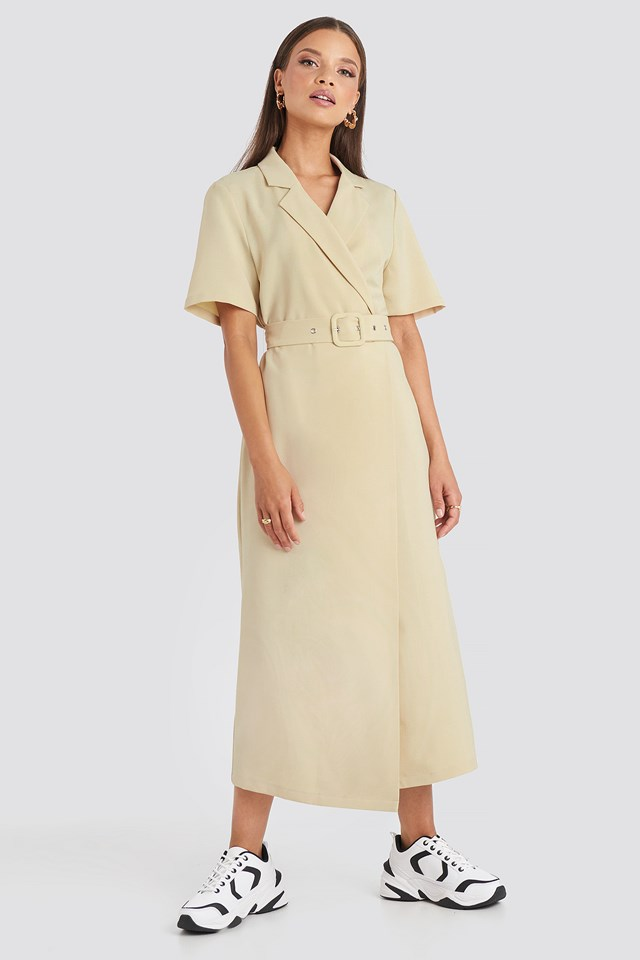 Belted Midi Dress Beige