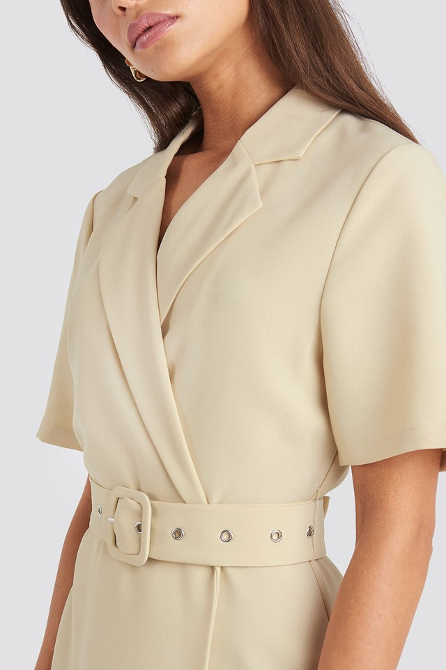 Belted Midi Dress Beige