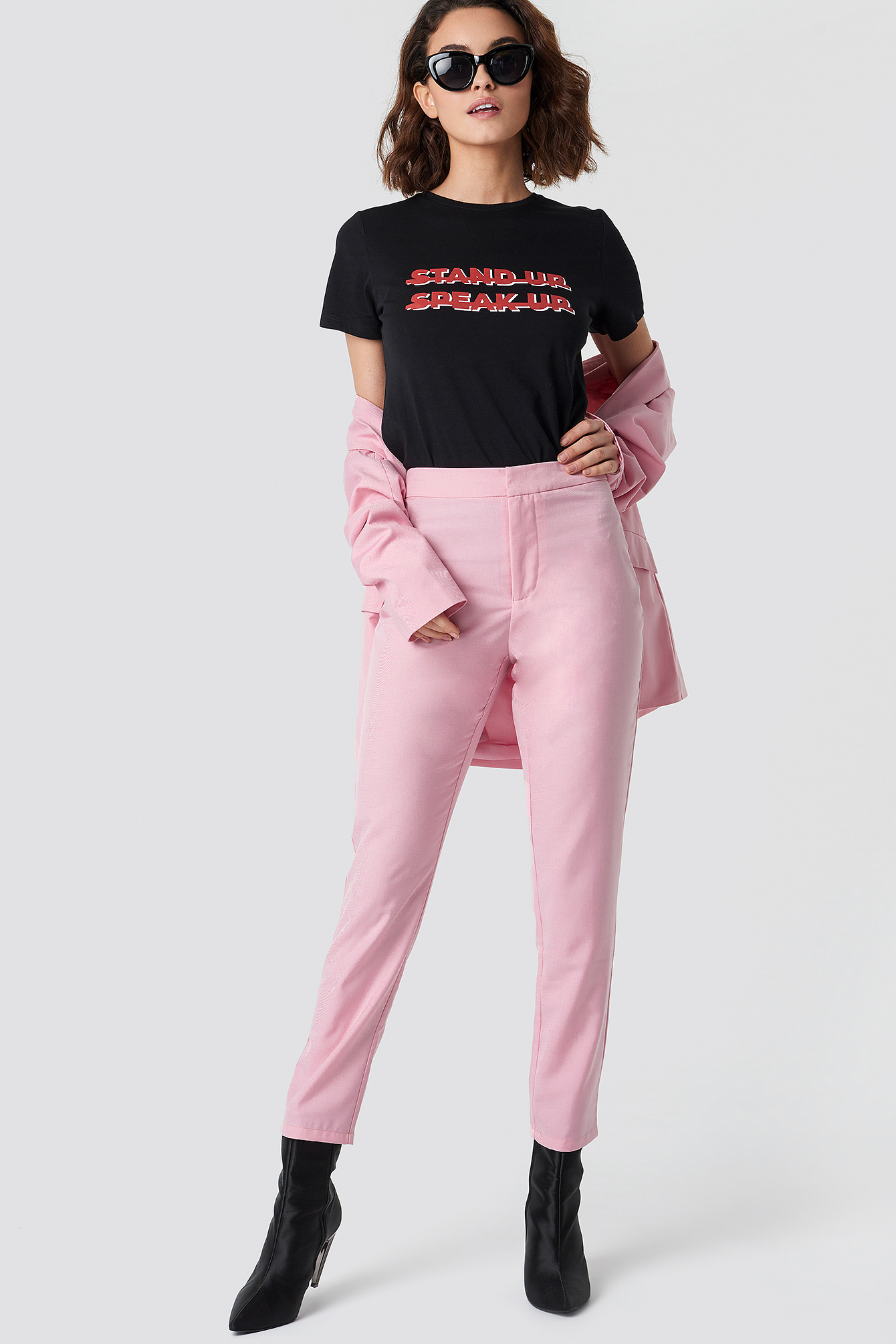 NA KD Ladies crop top short shirt with stand up collar turtleneck pink