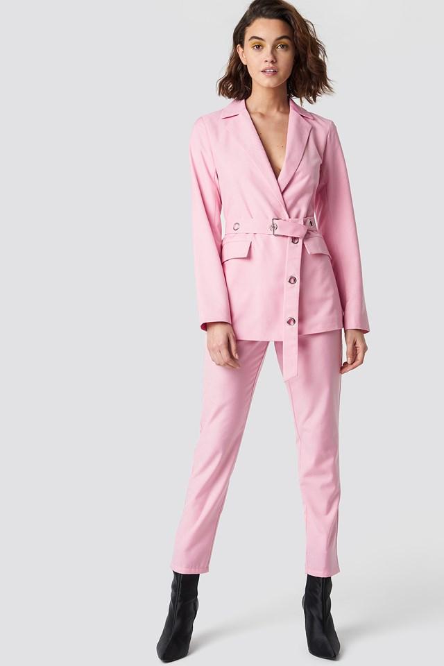 Belted Blazer Pink