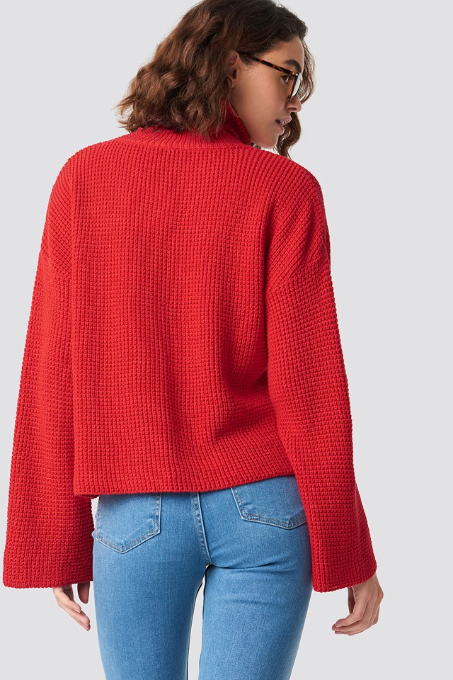Dropped Shoulder Polo Knit Red