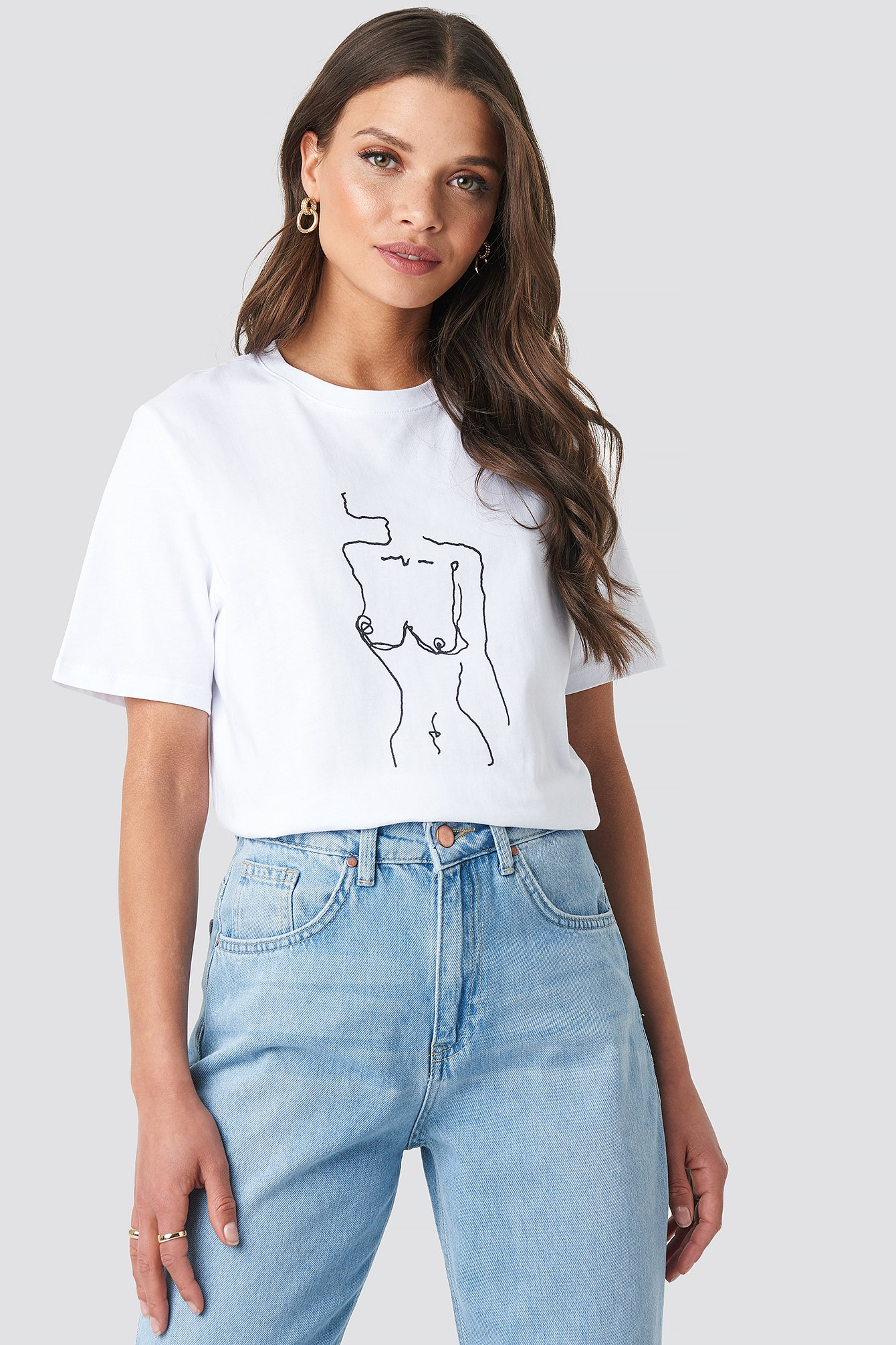 emilie briting x na-kd -  Lady Print T-shirt - White
