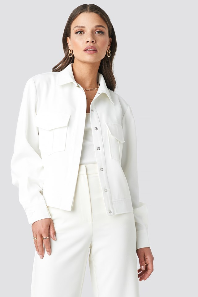 Front Pocket Jacket White