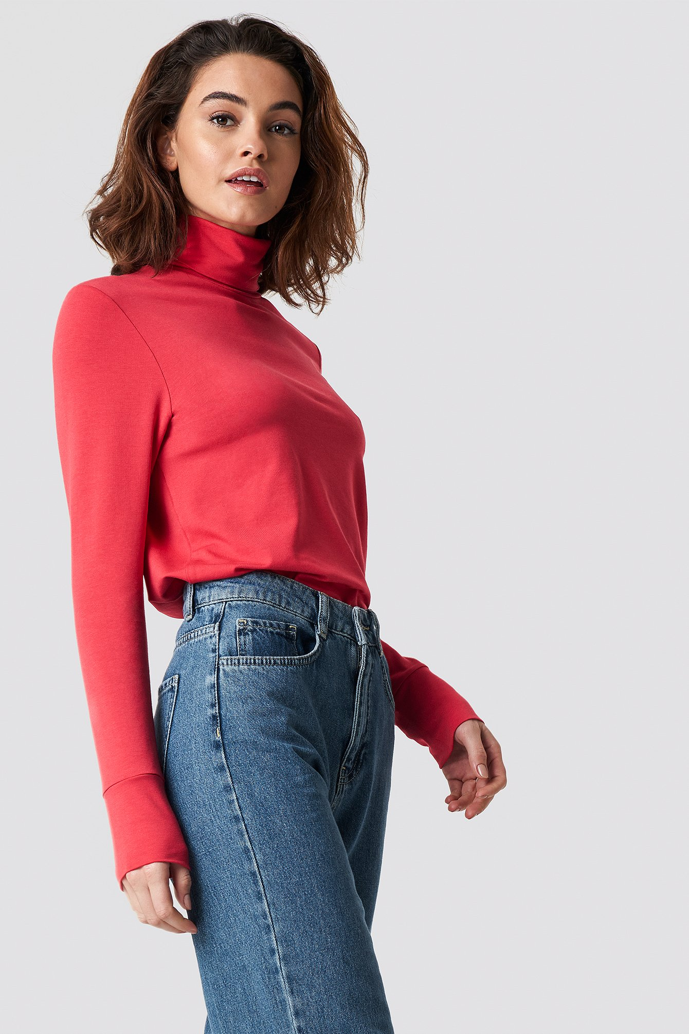 emilie briting x na-kd -  High Polo Top - Red