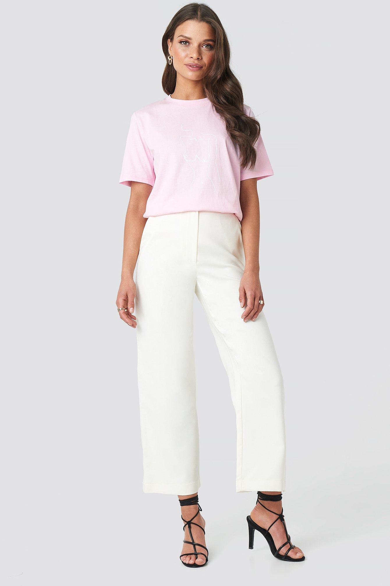 White Highwaist Cropped Pants