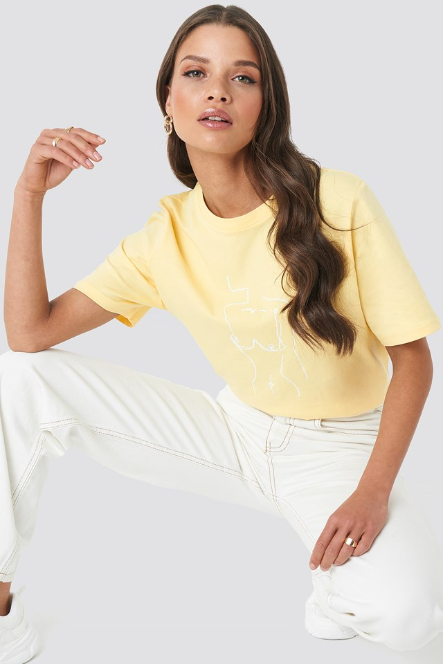 Lady Print T-shirt Yellow
