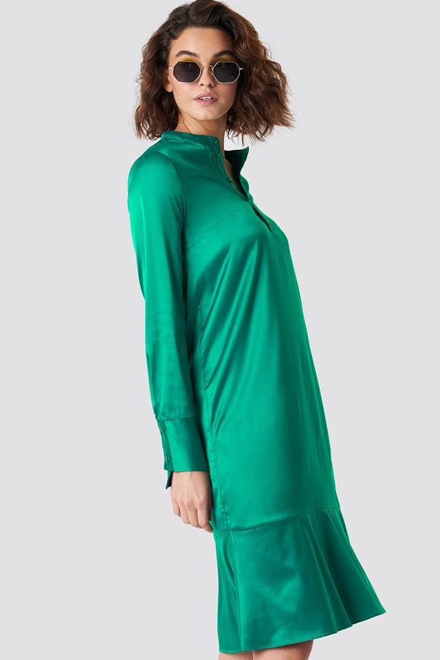 Long Sleeve Buttoned Satin Dress Green