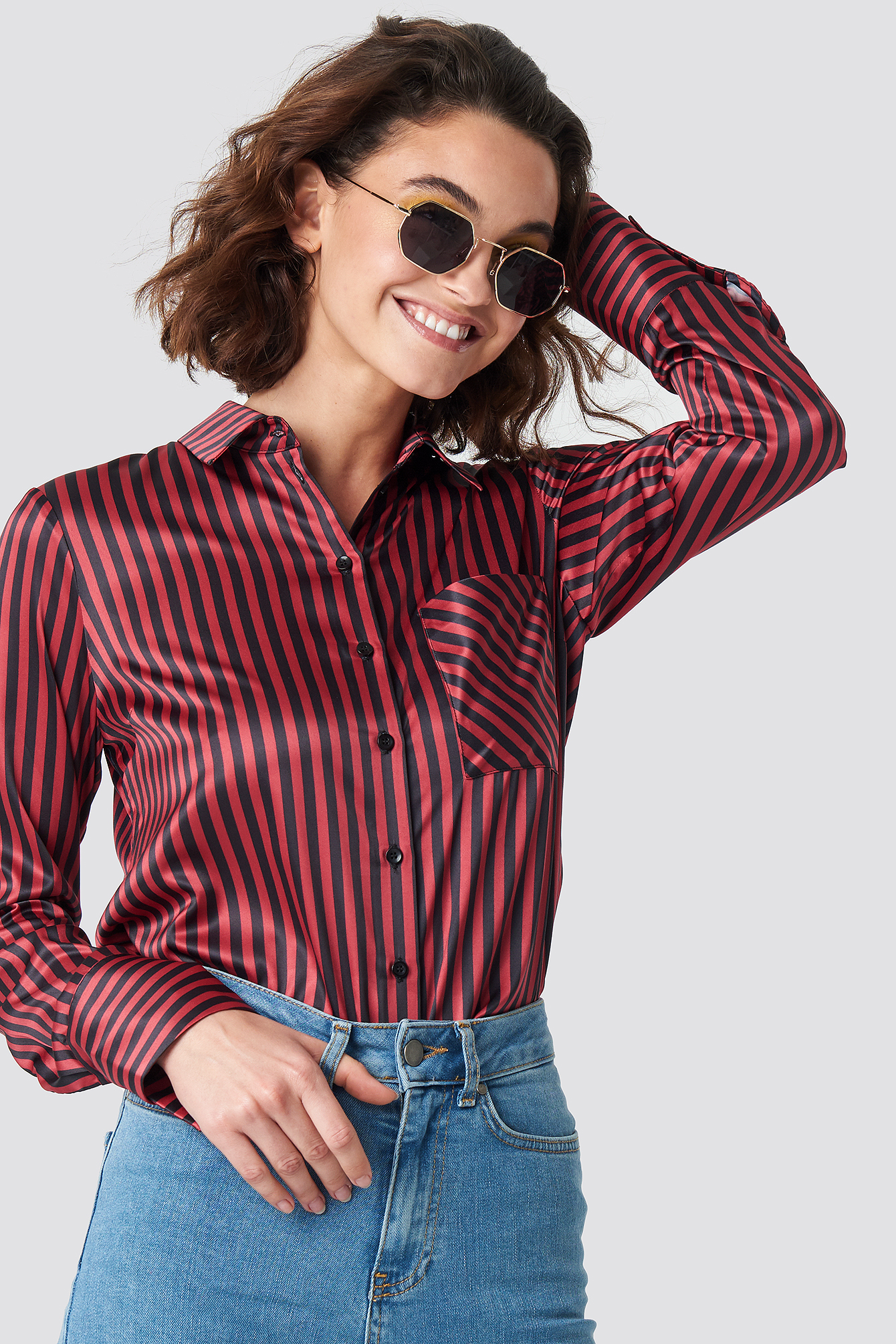 Pinstripe Satin Pocket Shirt NA-KD.COM