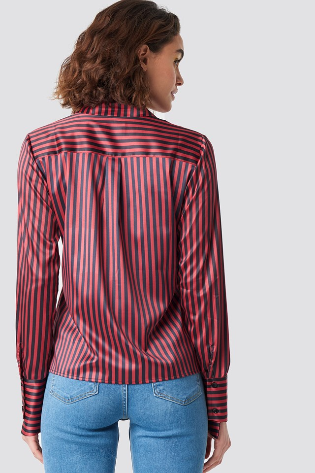 Pinstripe Satin Pocket Shirt Black/ Red stripe