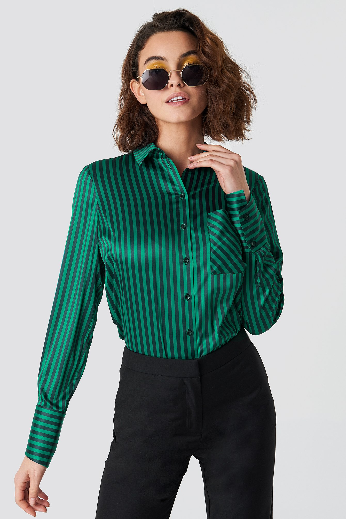 Pinstripe Satin Pocket Shirt NA-KD.COM