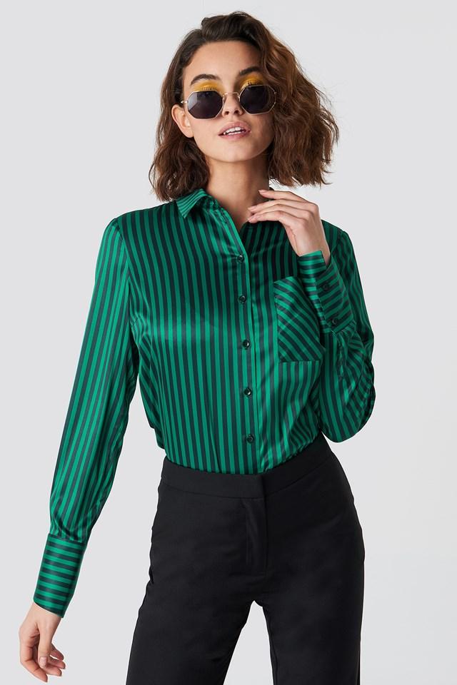Pinstripe Satin Pocket Shirt Black/Green Stripe