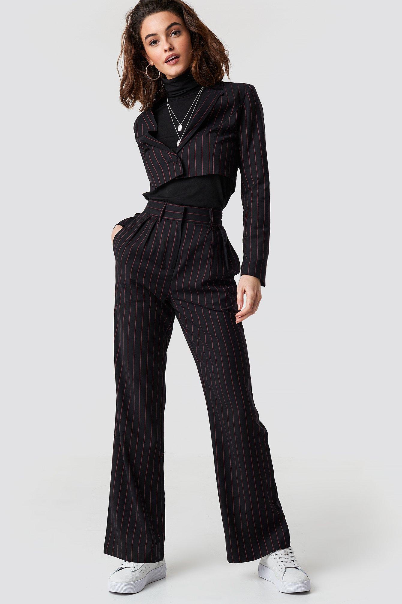 emilie briting x na-kd -  Pinstriped High Waist Flared Pants - Black