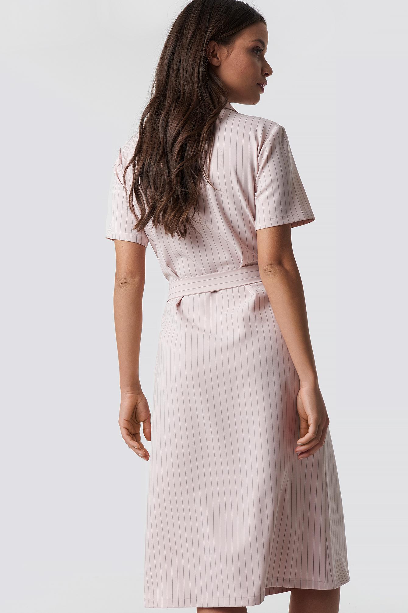 Pinstriped Wrapped Dress NA-KD.COM