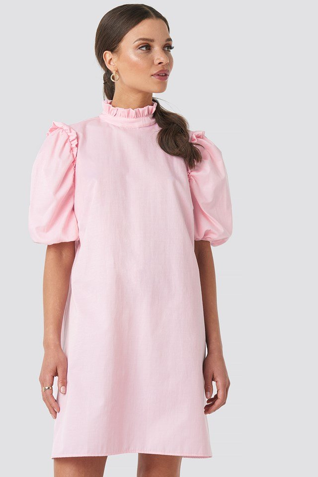 Puff Sleeve Mini Dress Pink