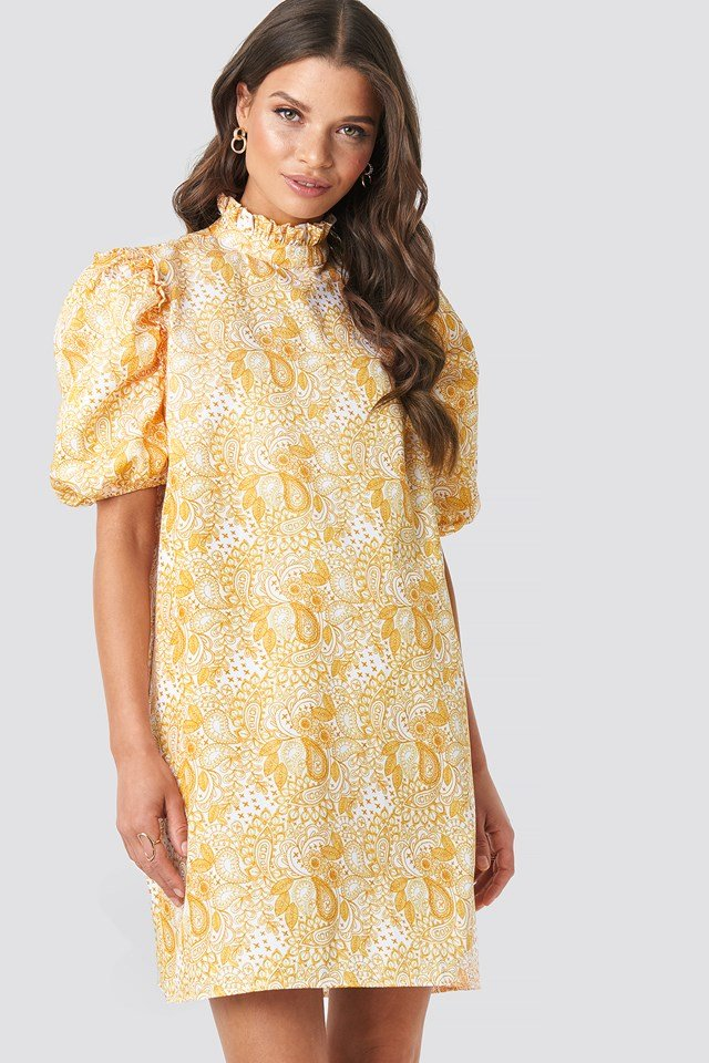 Puff Sleeve Mini Dress Yellow Paisley