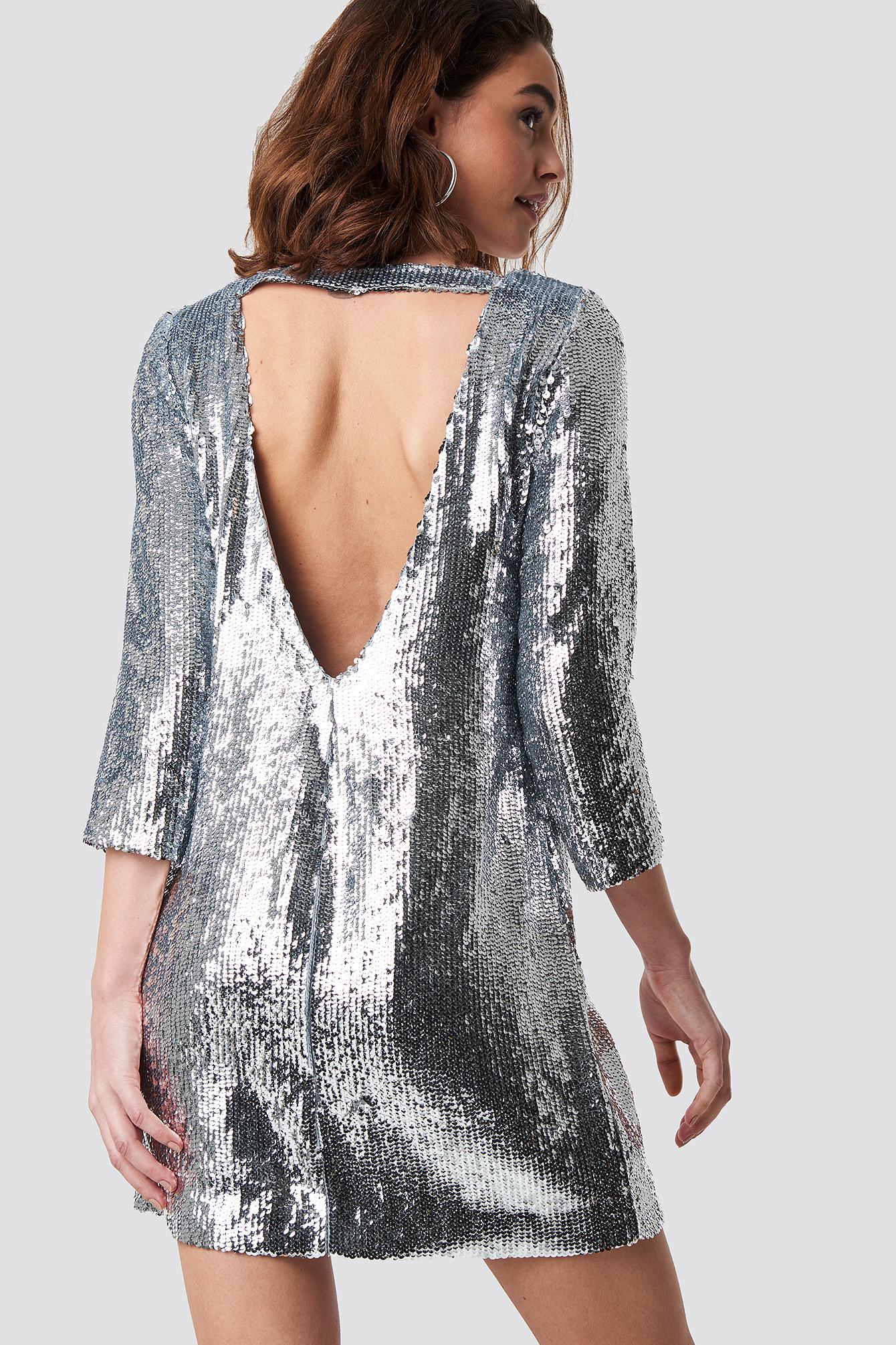 emilie briting x na-kd -  Sequin Short Dress - Silver