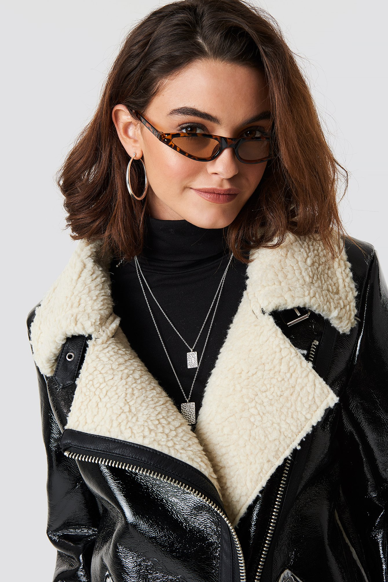 emilie briting x na-kd -  Leopard cateye sunglasses - Brown