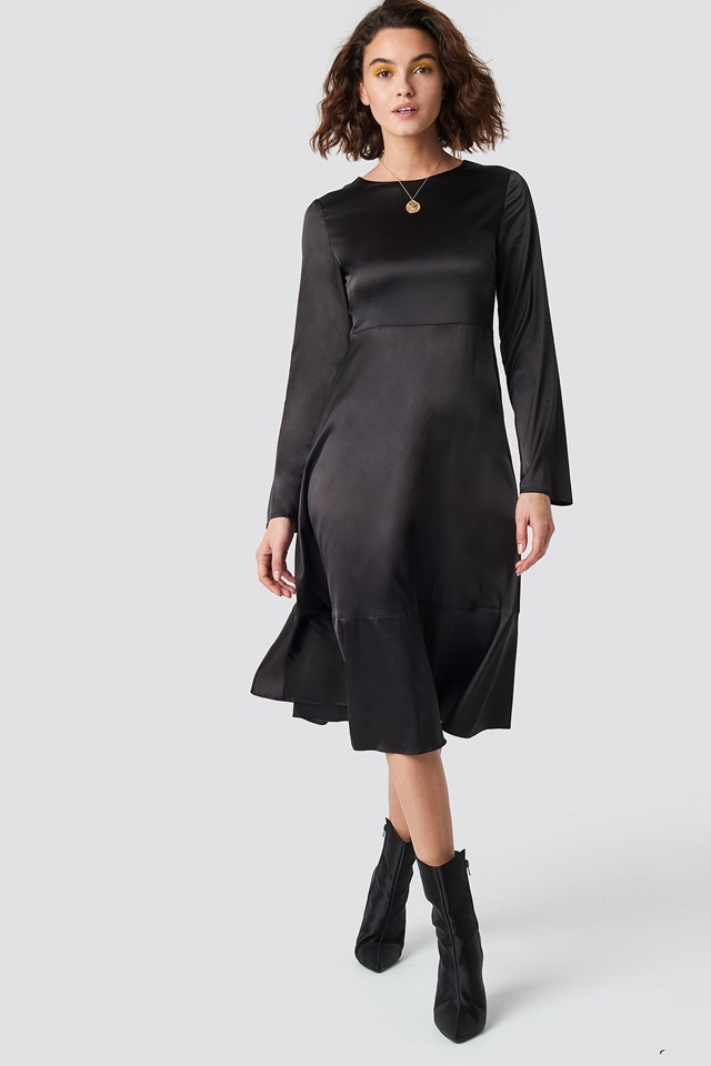 Long Sleeve Satin Dress Black