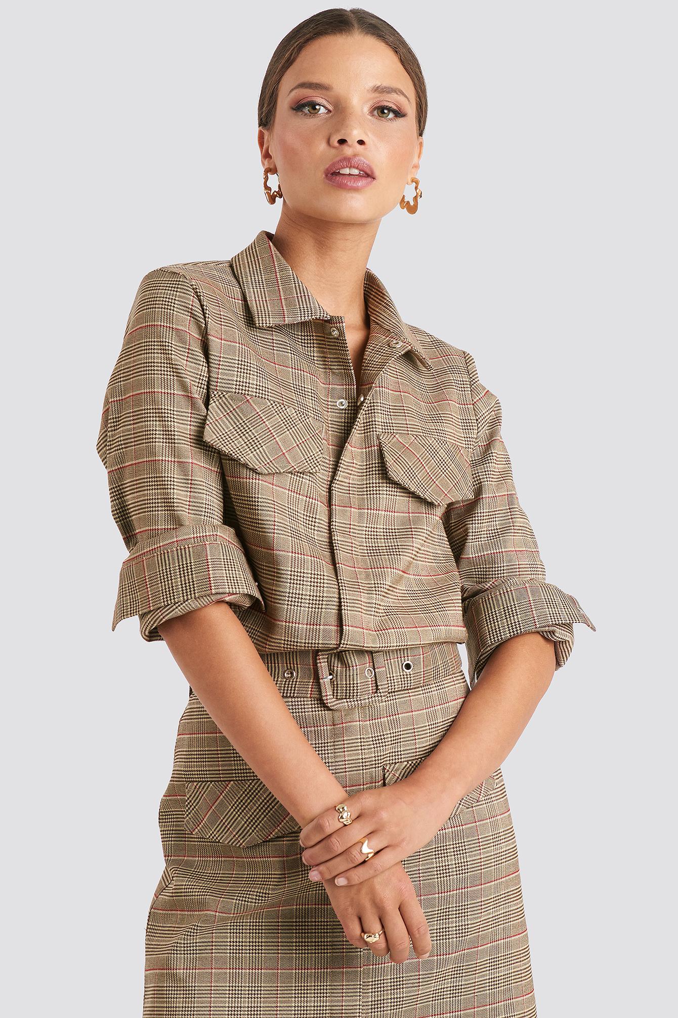 Checked Pocket Shirt Brown by Emiliebritingxnakd