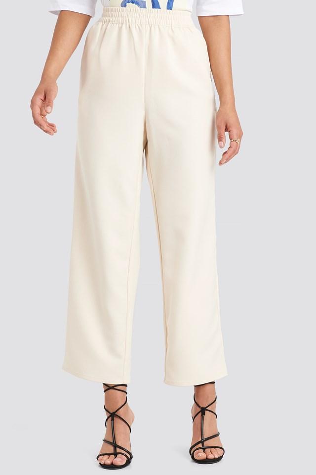Elastic Waistseam Cropped Pants Off White
