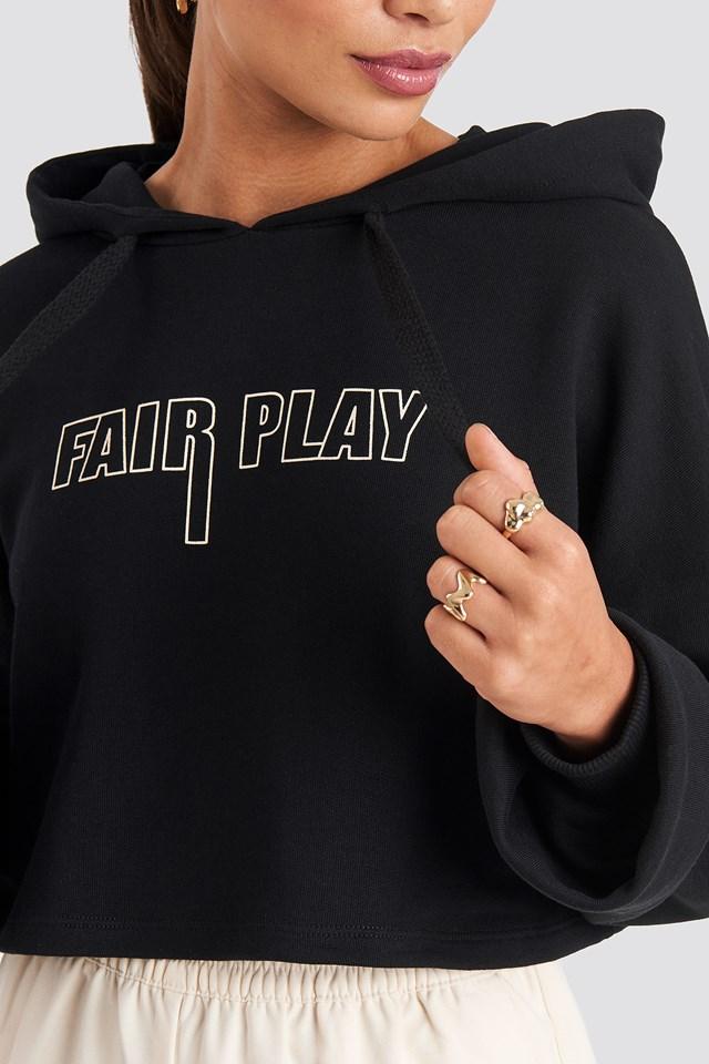 Fair Play Cropped Hoodie Black
