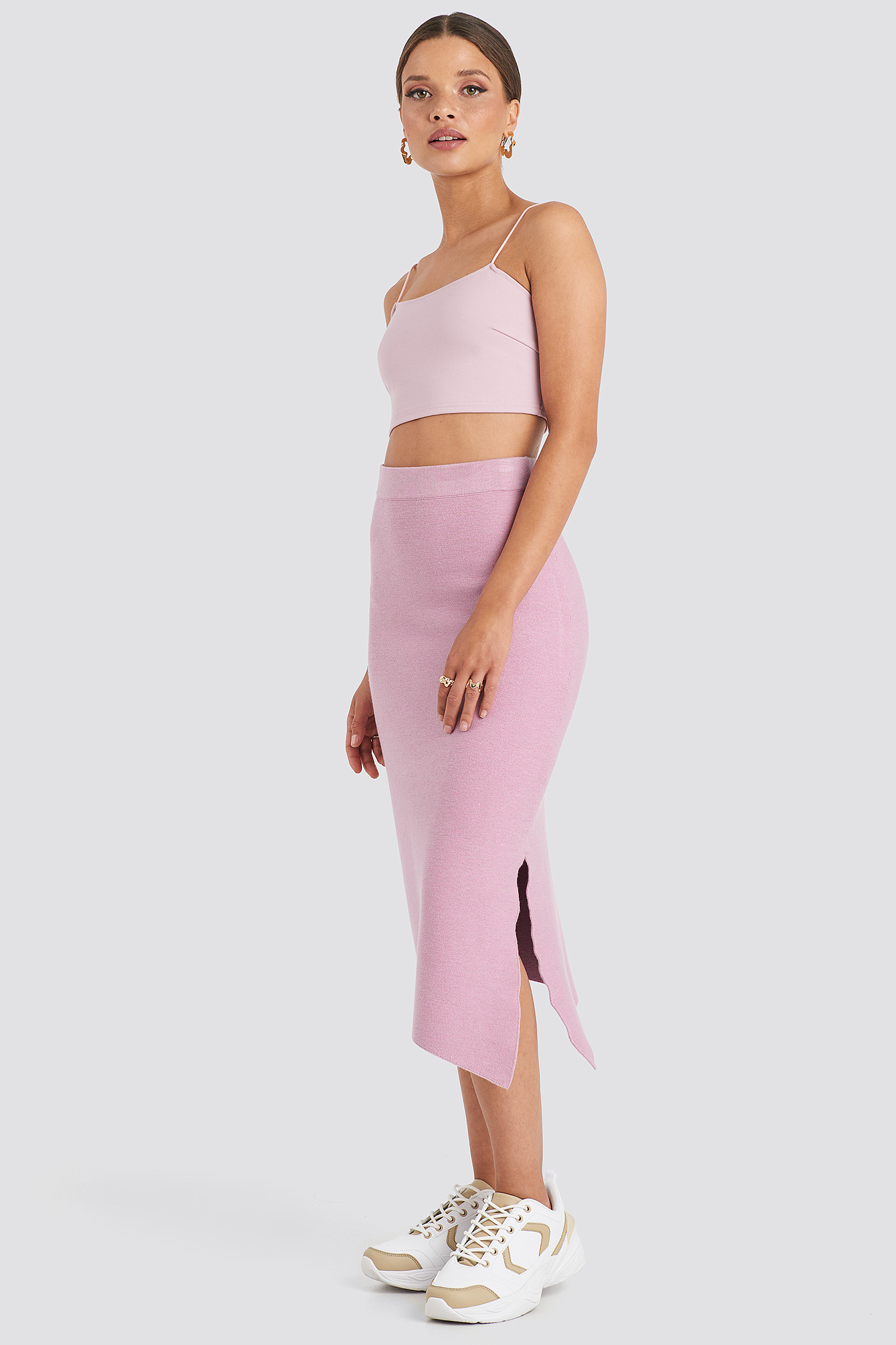 Emilie Briting X Na-kd Midi Knitted Skirt - Pink In Dusty Pink