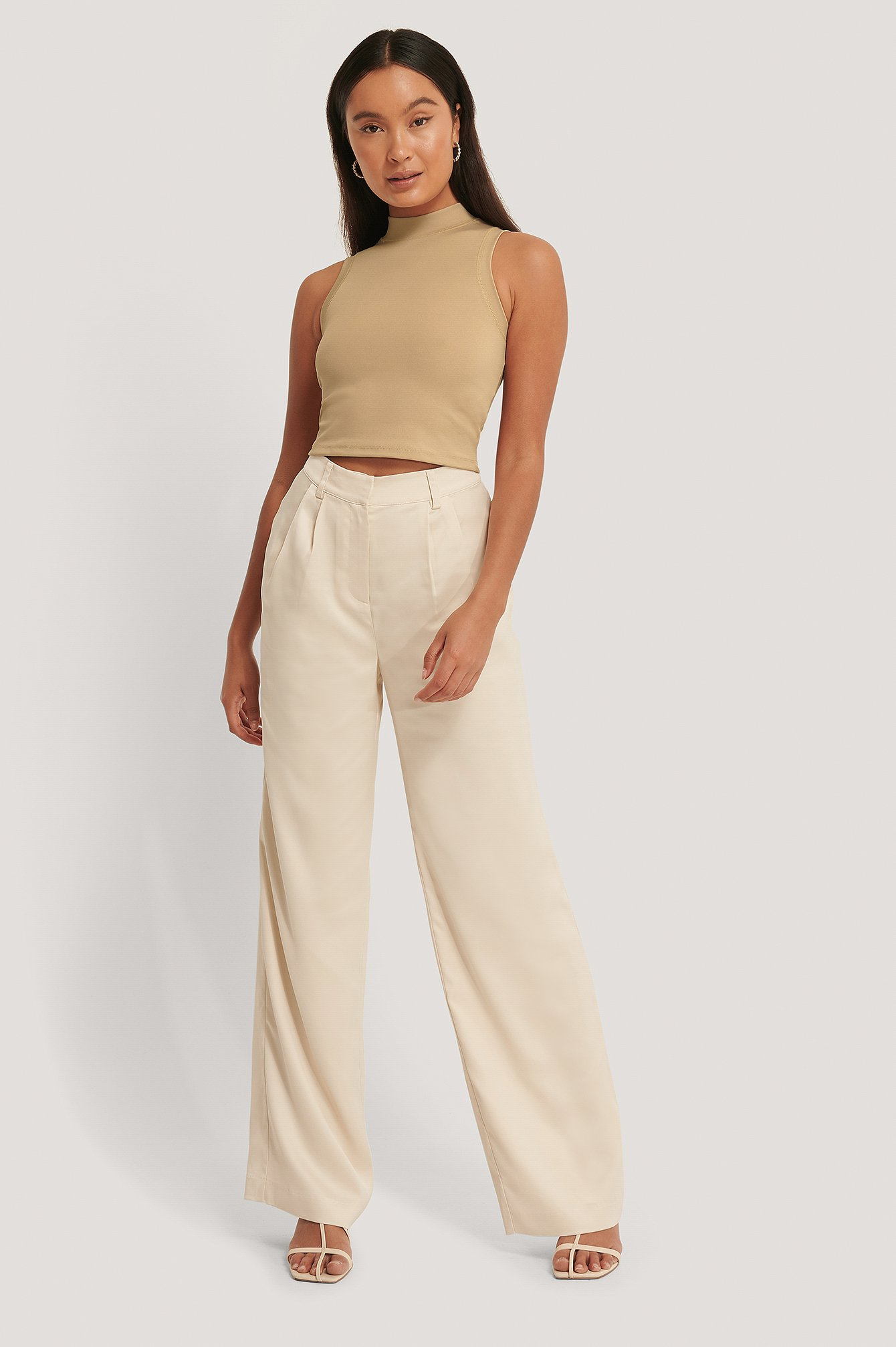 Bed J.w. Ford STRAIGHT SATIN PANTS - BEIGE