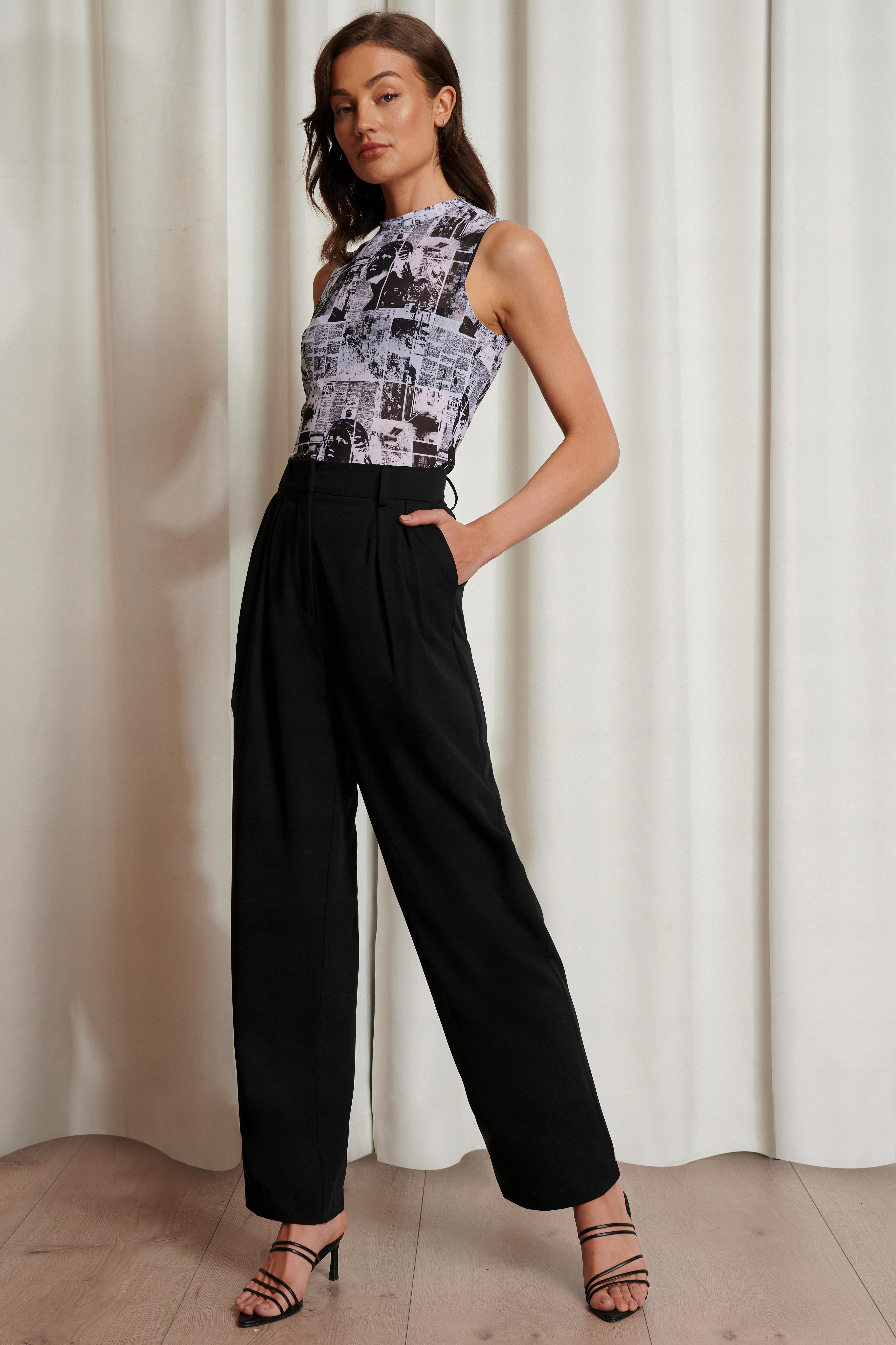 emma ellingsen x na-kd -  Übergroße Anzughose - Black