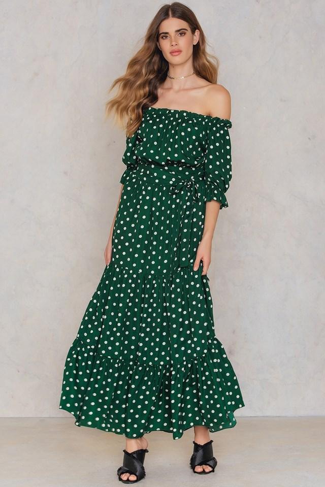 Bardot Neckline Maxi Dress Green
