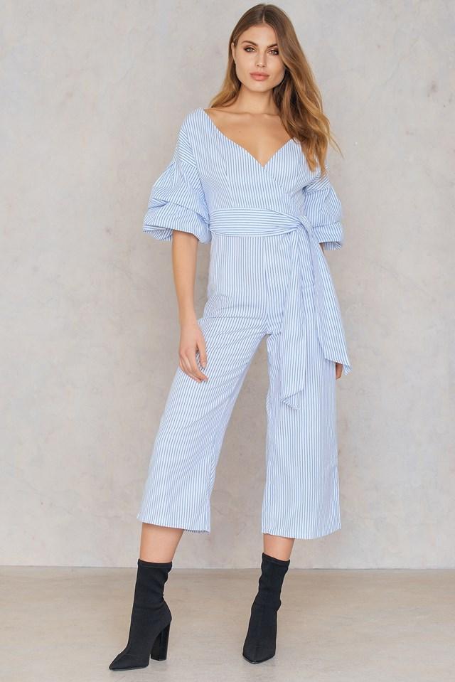 Deep Shoulder Gathered Sleeve Jumpsuit Blue