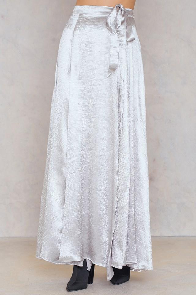 Faux Satin Wrap Skirt NA-KD.COM