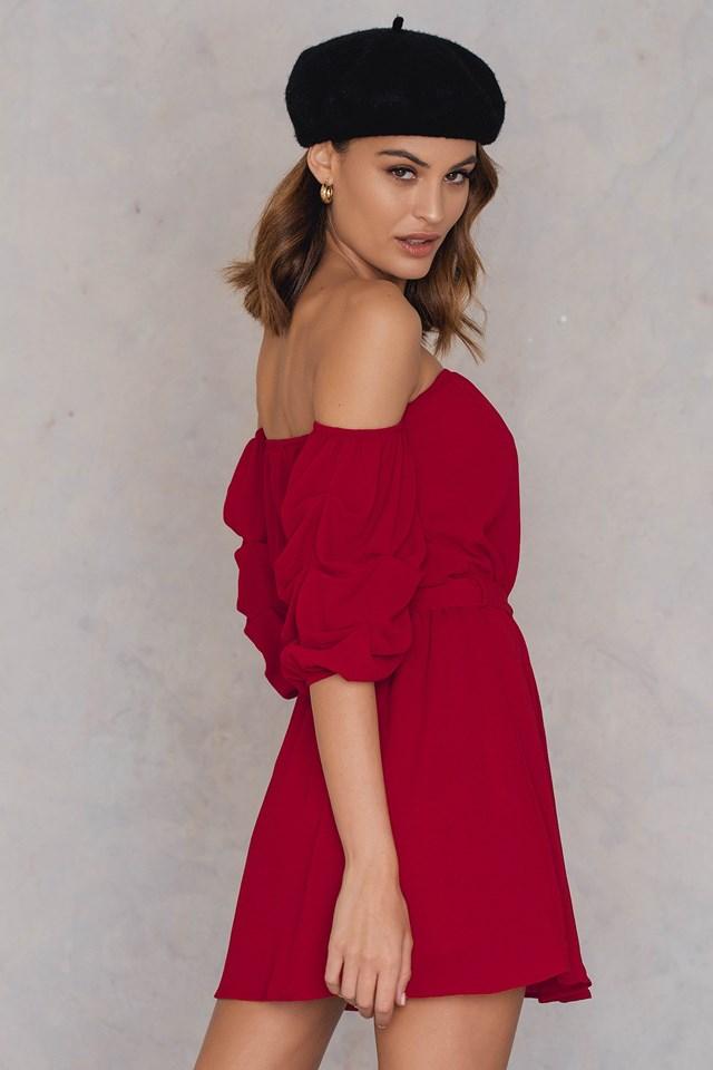 Gathered Sleeve Dress Burgundy