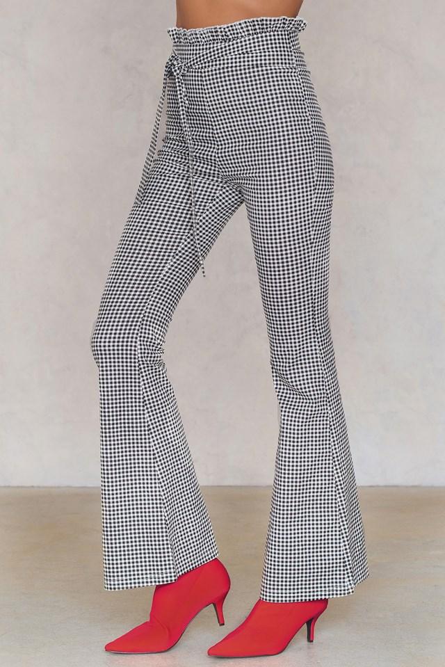Gingham Flared Pants Black/White
